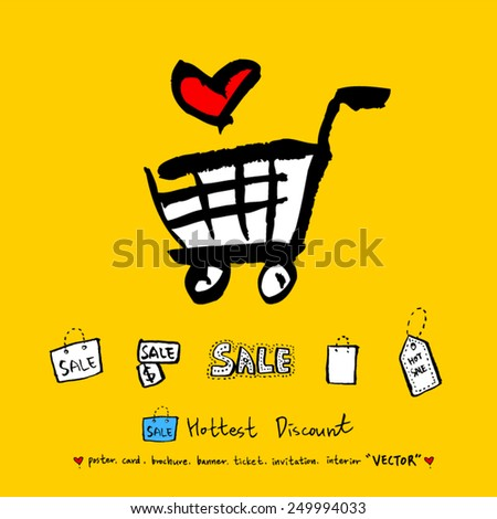 Hand drawn Sale poster /  vector -illustration - stock vector