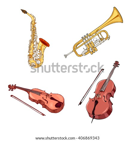Hand drawn saxophone, trumpet, violoncello, violin with bow isolated on white. Musical instruments. Jazz band tools.Classical musical instruments. String instruments. Brown fiddle. Shine saxophone. - stock vector