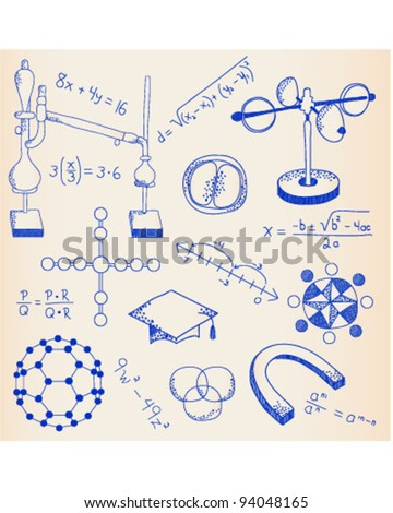 Hand Drawn Science Icon Set       vector is eps10 - stock vector
