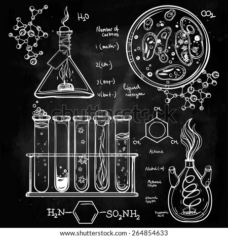 Hand drawn science laboratory icons sketch. Chalk on a blackboard. Vector illustration.Back to School. Science lab objects vintage doodle style sketch, Laboratory equipment. Biology and Chemistry. - stock vector