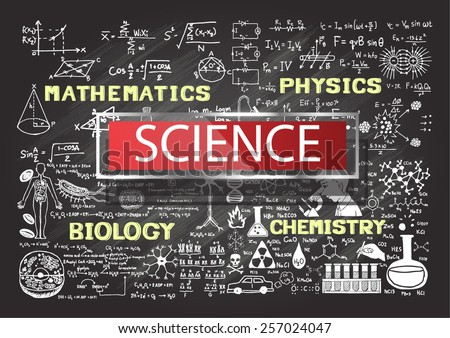 Hand drawn science on chalkboard. - stock vector