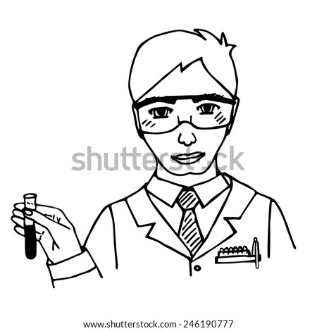 Hand-drawn scientist. Chemist. Doodle. Isolated. vector illustration - stock vector