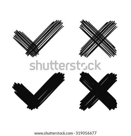 Hand drawn scribble checkmark and cross. Doodle vector design elements.  - stock vector
