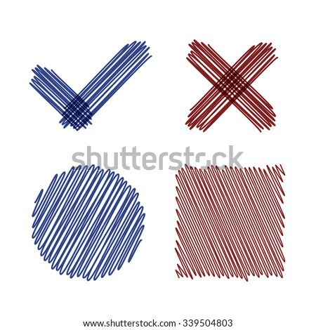 Hand drawn scribble checkmark, cross, circle and square shapes in ballpoint pen colors. Doodle vector design elements set. - stock vector