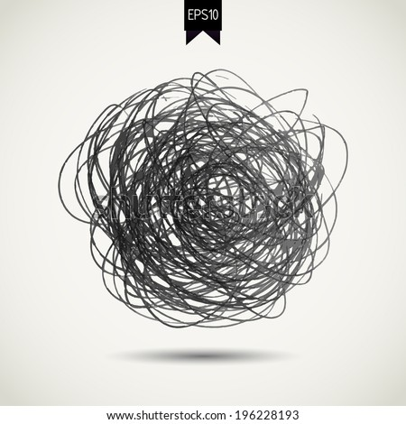 Hand drawn scribble frame. Sketch stroke line element. Scribble circle - stock vector