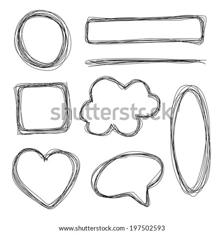 Hand drawn scribble pencil shapes - stock vector
