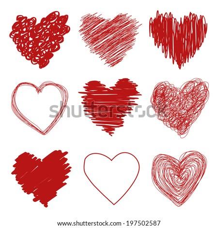 Hand drawn scribble sketch hearts - stock vector