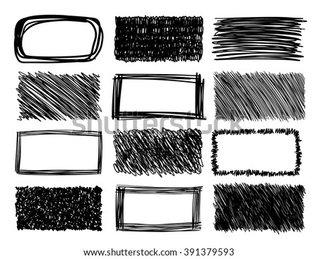 hand drawn scribble squares, grunge vector frames - stock vector