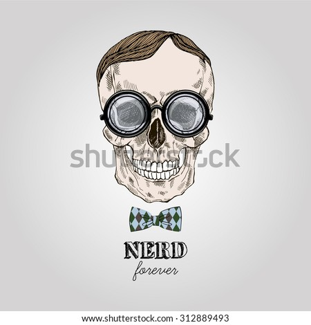 hand drawn scull in nerdy glasses, geek style print - stock vector