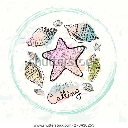 Hand drawn sea shells. Vintage background - stock vector