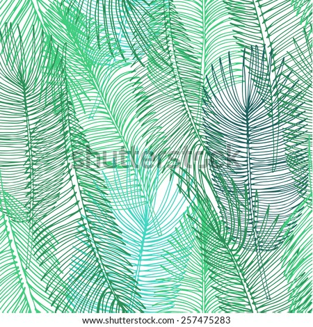 Hand drawn seamless background of tropical palm leaves. Vector background. - stock vector