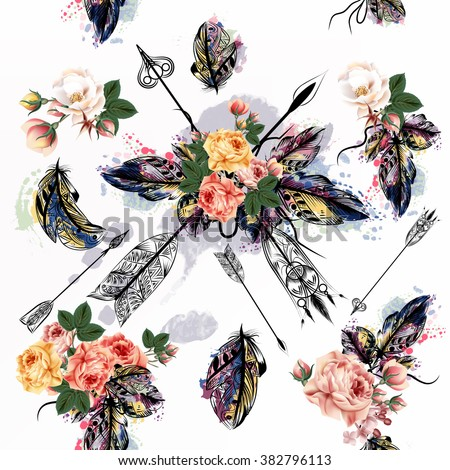 Hand drawn seamless  bo-ho tribal design with arrows and  roses  in watercolor hand drawn style - stock vector