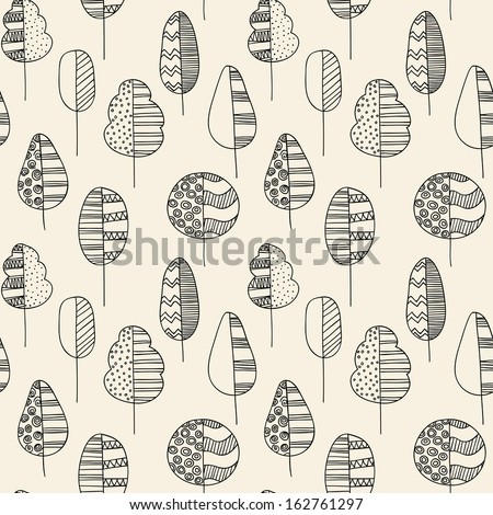 Hand drawn seamless doodle pattern of trees - stock vector