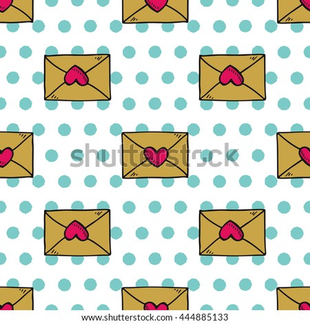 Hand drawn seamless envelopes vintage pattern. Vector image in retro style. Apparel design, poster background. - stock vector