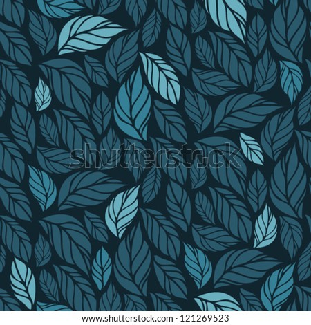 Hand Drawn Seamless Foliage Pattern. Repetitive cute vector background of leaves or feathers - stock vector