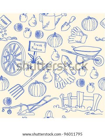 Hand Drawn Seamless Garden Icons            vector eps10 - stock vector