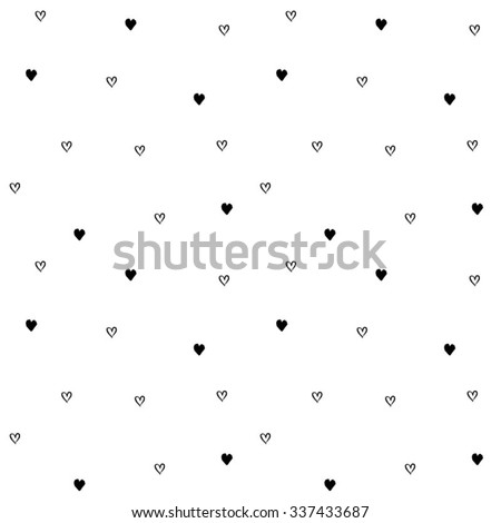 Hand-drawn seamless pattern of little hearts. Vector illustration. Isolated from background. - stock vector