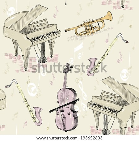 hand drawn seamless pattern of  musical instruments. - stock vector