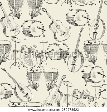 hand drawn seamless pattern of  musical instruments - stock vector