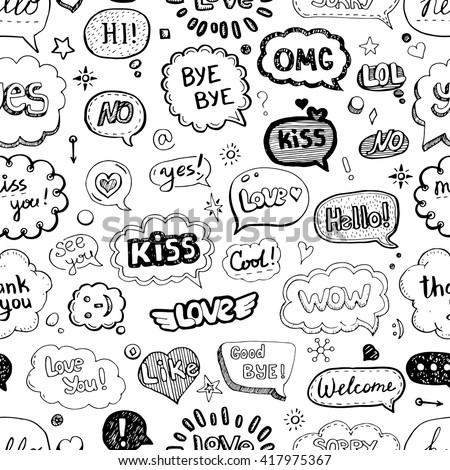Hand drawn seamless pattern of speech bubbles with dialog words: Hello, Love, Bye, Hi. Vector illustration. - stock vector