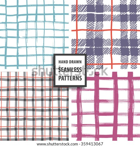 Hand drawn seamless pattern set. Vector illustration. - stock vector