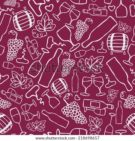 Hand-drawn seamless pattern. Vector illustration. Wine stuff - bottle, glass, grape ripe grape leaf, corkscrew - stock vector