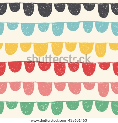 Hand drawn seamless pattern with bunting and celebration garland. Colorful background in sweet colors. Decorative ornament in vector - stock vector