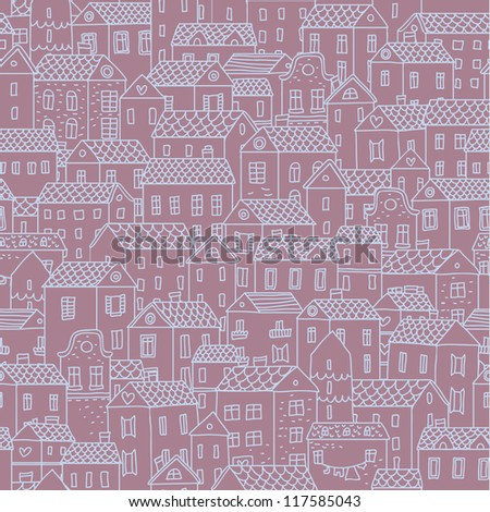 Hand-drawn seamless pattern with cute town. Vector texture with small houses. - stock vector