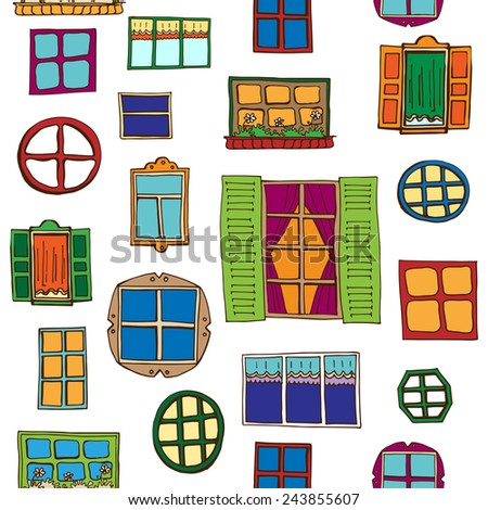 Hand-drawn seamless pattern with different colorful windows on the white background. Architectural composition. - stock vector