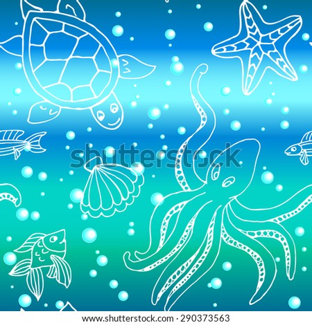 Hand drawn seamless pattern with different sea creatures: fish, starfish, octopus, turtle, - stock vector