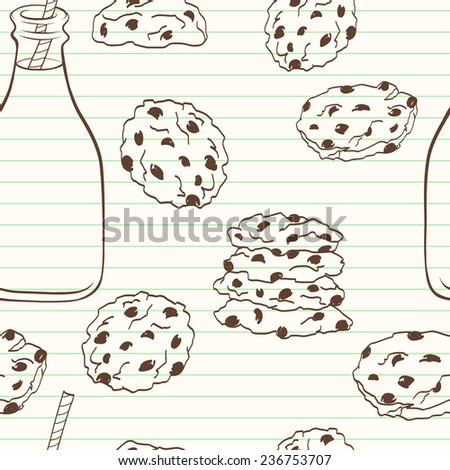 Hand drawn seamless pattern with doodle cartoon chocolate chip cookies and bottle of milk on lined notepaper background. - stock vector