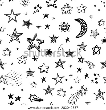 Hand drawn seamless pattern with doodle stars - stock vector
