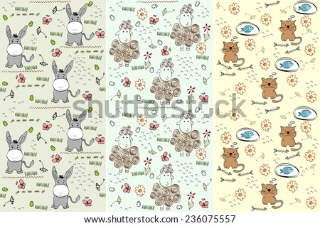 hand drawn seamless pattern with farm animals - stock vector