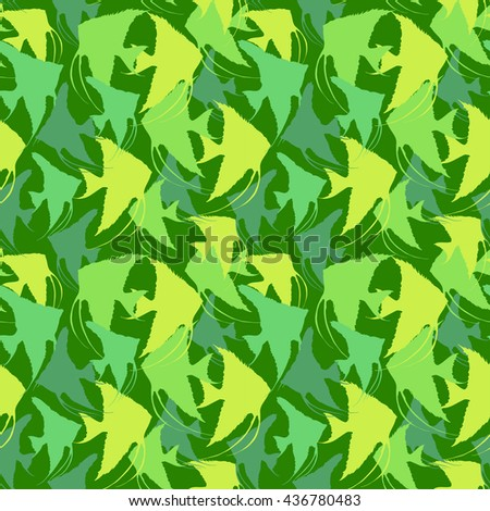 hand drawn seamless pattern with  fish. vector pattern with  silhouettes of angelfish  different shapes, colors and sizes.  Endless background. green Vector Seamless pattern with scalar silhouettes. - stock vector