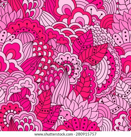 Hand drawn seamless pattern with floral elements. Colorful background. Pattern can be used for fabric, wallpaper or wrapping. - stock vector