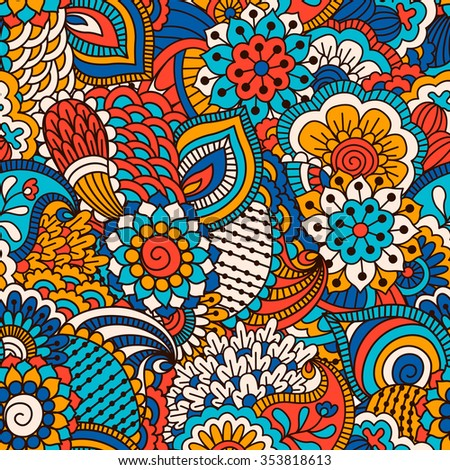 Hand drawn seamless pattern with floral elements. Colorful ethnic background. Pattern can be used for fabric, wallpaper or wrapping.  - stock vector