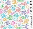 hand drawn seamless pattern with funny fishes - stock vector