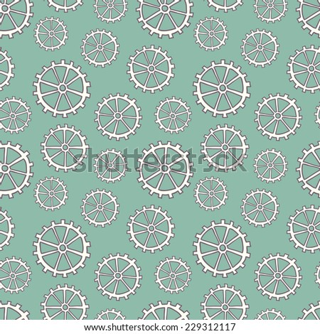 Hand drawn seamless pattern with gears. Seamless pattern can be used for wallpaper, pattern fills, web page background, surface textures. - stock vector