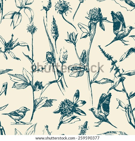 Hand-drawn seamless pattern with  herbs and birds. Vector - stock vector