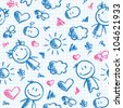 hand drawn seamless pattern with kids and summer symbols - stock vector