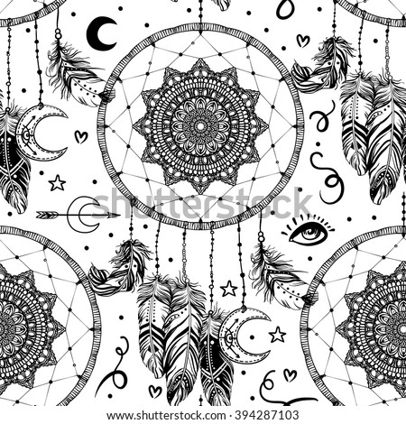 Hand drawn seamless pattern with Native American Indian talisman dream catcher with feathers and moon symbol. Vector illustration isolated on white. Lineart. Ethnic design, mystic tribal symbol.  - stock vector