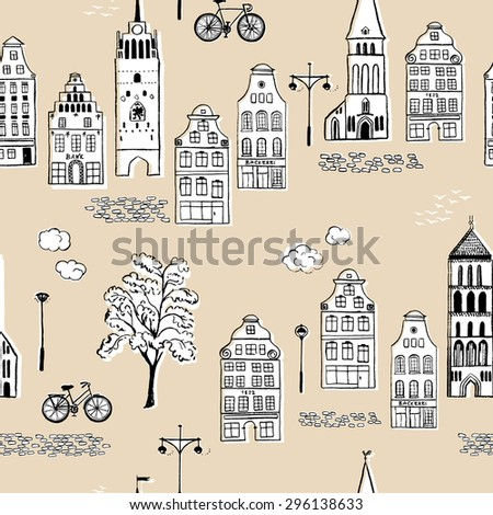 Hand-drawn seamless pattern with old town / Vector illustration - stock vector