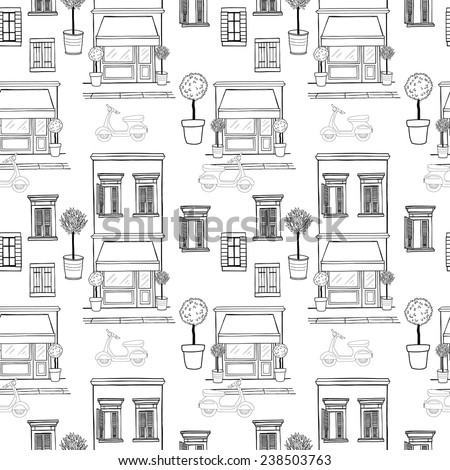 Hand drawn seamless pattern with sketchy shop on the ground floor, potted trees, different windows with shutters and old school scooter on the street. Cartoon city tiling background. - stock vector