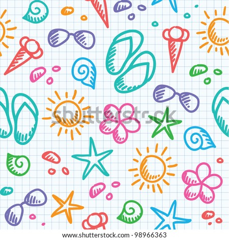 hand drawn seamless pattern with summer symbols - stock vector