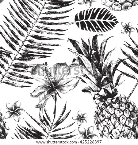 Hand drawn Seamless pattern with Tropical Palm Leaves, Flowers and Pineapples - stock vector