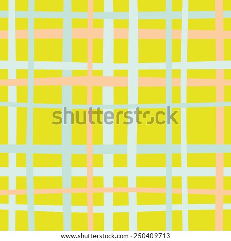 Hand drawn seamless plaid pattern. Abstract background with multicolored lines. - stock vector