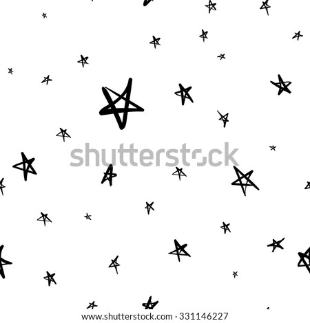 Hand drawn seamless star pattern with ink doodles. Vector background - stock vector