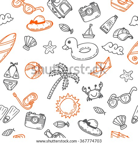 Hand drawn seamless summer pattern with beach icons. Background on a beach theme. Vector illustration - stock vector