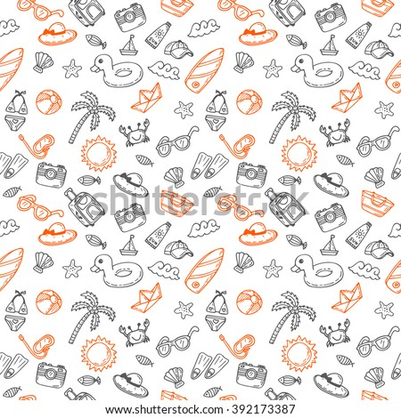 Hand drawn seamless summer pattern with beach icons. Sketch background on a beach theme. Vector illustration - stock vector