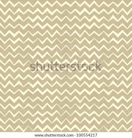 Hand drawn Seamless zigzag pattern on linen canvas background. Vintage rustic burlap chevron. eps 10 - stock vector